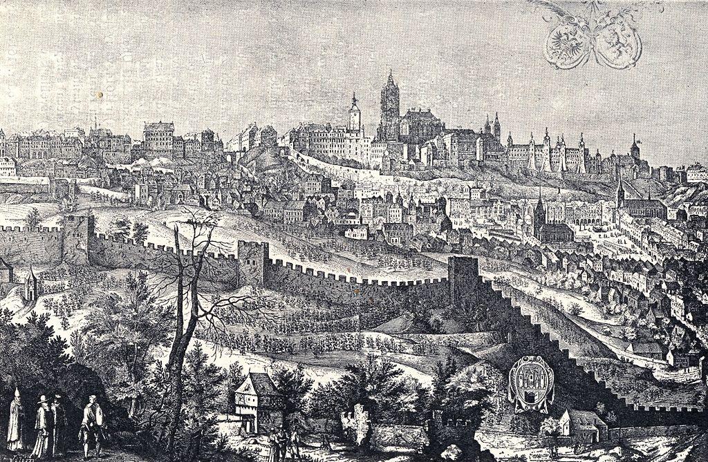 Chateau de Prague derrière les murs de la faim sous Rodolphe II en 1607.