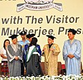 Pranab Mukherjee presenting the gold medal to a student, at the 10th Convocation of Mizoram University, in Aizawl, Mizoram. The Governor of West Bengal, Shri Keshari Nath Tripathi and the Chief Minister of Mizoram.jpg