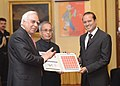 Pranab Mukherjee releasing the commemorative stamp during the 175th Year Celebrations of Times of India, at Rashtrapati Bhavan.jpg
