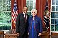 President Barack Obama and Estonian Ambassador to USA Marina Kaljurand, in the Oval Office, Sept. 9, 2011.jpg