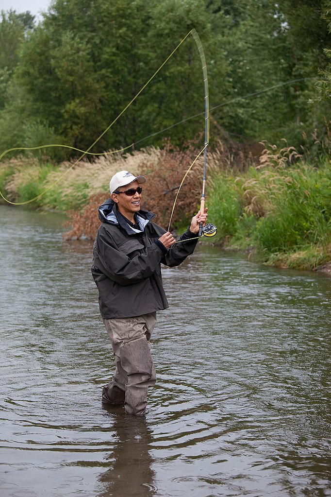 File President Barack Obama Casts His Line While Fishing For Trout On The East Gallatin River