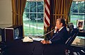 President Gerald R. Ford Talking on the Telephone with the Apollo-Soyuz Crew Members during the Docked Portion of the Apollo-Soyuz Space Flight - NARA - 12082705.jpg