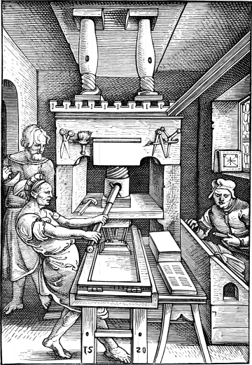 Early wooden printing press, depicted in 1520. Press1520.png