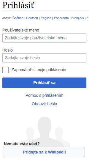 Len pripojiť užívateľské meno a heslo
