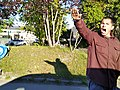 Protestor against Patriot Day Rolling Rally on Muldoon Road, Anchorage, Alaska.jpg