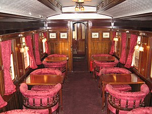 Queen of Scots (train) - Interior of the lounge car on the train.