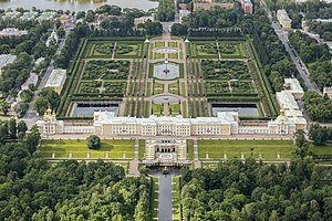 Peterhof Palace - Aerial view of Peterhof Palace (main building) and the upper garden