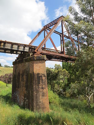 Abutment - Brick abutment supporting disused tramway over the Yass River in Riverbank Park Yass