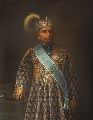 Moolam Thirunal - Rama Varma, Maharaja of Travancore painted by KP Thampy in 1895