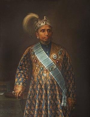 Moolam Thirunal - Rama Varma, Maharaja of Travancore painted by KP Thampy in 1895