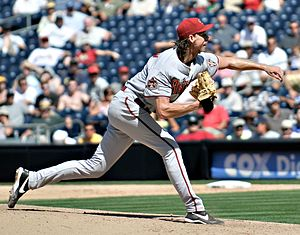 History of the Arizona Diamondbacks - Randy Johnson pitching for the Arizona Diamondbacks.