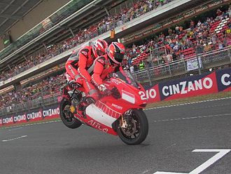Randy Mamola - Mamola piloting the Doubleseater Ducati at Barcelona