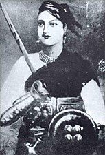 Lakshmibai, the Rani of Maratha-ruled Jhansi, one of the principal leaders of the rebellion who earlier had lost her kingdom as a result of the Doctrine of Lapse.
