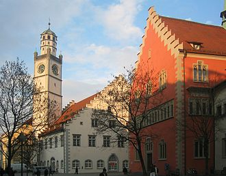 Ravensburg - Ravensburg, Blaserturm (trumpeter's tower), Waaghaus (weighing house) and Rathaus (town hall)