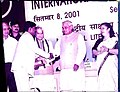 Receiving Satyen Mitra National Literacy Award at the hands of Shri. Atal Bihari Vajpayee, the then Hon. Prime Minister of India in 2001.jpg
