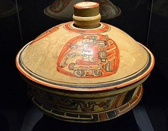 Itzamna - The god Itzamnaaj as a bird. Lid of a pot from El Peru, Guatemala, Early Classic period (250-600).
