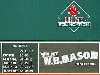 "Games behind - A partial view of the Green Monster at Fenway Park, with standings for the American League East division, including a ""GB"" column"