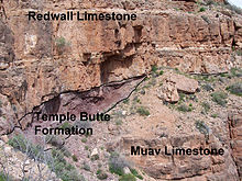 Annotated photo of different colored rock units on a cliff.