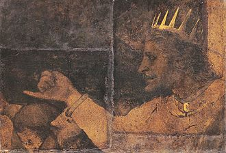 Rehoboam - Image: Rehoboam. Fragment of Wall Painting from Basel Town Hall Council Chamber, by Hans Holbein the Younger