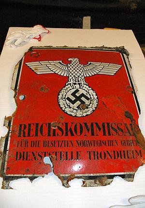 Reichskommissariat Norwegen - Image: Reichskommissar skilt funnet i Nidelva, Trondheim