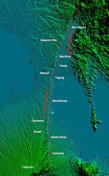 Relief Map of Metro Manila and nearby provinces showing the West and East Valley Fault Line (cropped).jpg