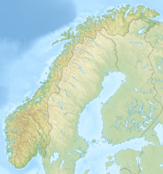 """Mapa konturowa Norwegii, u góry po prawej znajduje się punkt z opisem """"źródło"""", natomiast blisko górnej krawiędzi po prawej znajduje się punkt z opisem """"ujście"""""""