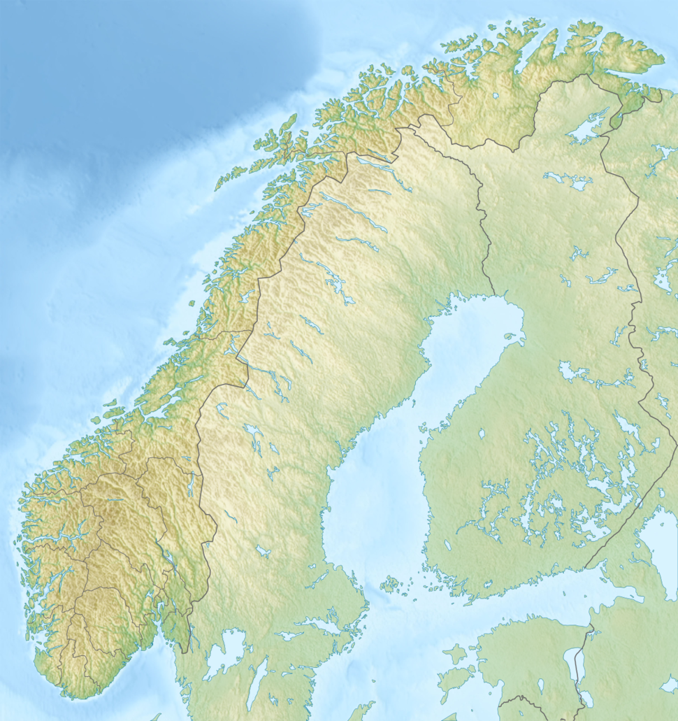 Map showing the location of Øksfjordjøkelen  (Norwegian) Ákšovuonjiehkki  (Northern Sami)