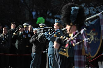 Central Band of the Canadian Armed Forces - A Trumpeter with CF Central Band during the Remembrance Day celebrations at National War Memorial in Ottawa.