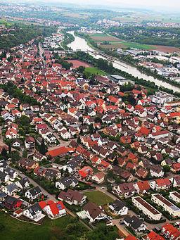 Luftaufnahme der Stadt Remseck Ortsteil Aldingen aus dem Jahr 2010