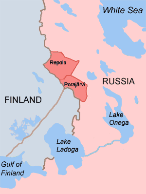Repola - Reboly and Porosozero in 1920. The border between Finland and Soviet Union after 1940 is also shown.