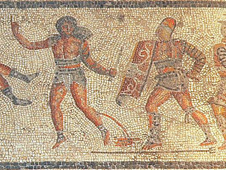 Retiarius - In this scene from the Zliten mosaic (c. CE 200), a retiarius armed only with a dagger raises a finger in surrender. His trident lies at the foot of his secutor adversary, and his net is missing. He is also seen bleeding from an artery in his leg