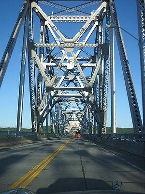 Rip Van Winkle Bridge - Crossing the bridge eastbound in the summer
