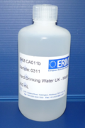 A natural river water certified reference material in its polythene bottle after production