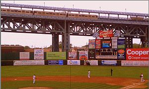 Camden Riversharks - Image: Riversharks Game as PATCO Train Passes by on Bridge