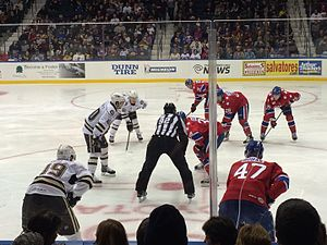 Rochester Americans - A faceoff during an Americans game in 2016.