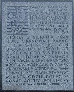 104th Company of Syndicalists - A memorial tablet in Warsaw, located near the Krasiński Palace, which was captured by soldiers of the 104 Company of Syndicalists on August 2, 1944.