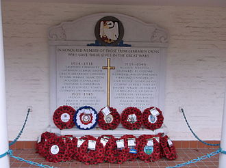 Gerrards Cross Memorial Building - The memorial plaque in the portico listing the names of the fallen from Gerrards Cross
