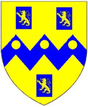 John Rolle, 1st Baron Rolle - Arms of Rolle: Or, on a fesse dancetté between three billets azure each charged with a lion rampant of the first three bezants