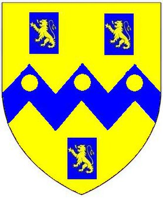 Hudscott - Arms of Rolle: Or, on a fesse dancetté between three billets azure each charged with a lion rampant of the first three bezants