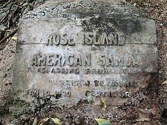 Rose Island Concrete Monument - Image: Rose Island Marker
