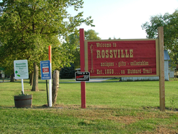 Welcome sign at the north edge of town, 2007