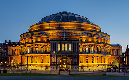 The Royal Albert Hall hosts concerts and musical events. Royal Albert Hall Crop, London - Nov 2012.jpg