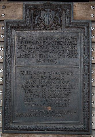 RSA Insurance Group - Image: Royal Insurance War Memorial