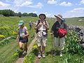 Runners meeting pilgrims at the Aubrac plateau.jpg