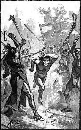 Mary Draper Ingles - A captive runs the gauntlet between Shawnee warriors.
