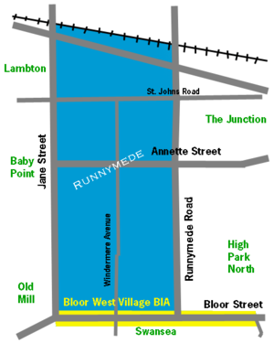 Bloor West Village - Image: Runnymede bwv to map