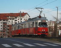 SGP E1 125 and Lohner c3, tram line 9, Cracow, 2008.jpg