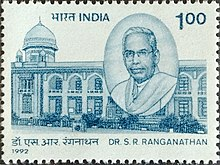 SR Ranganathan 1992 stamp of India.jpg