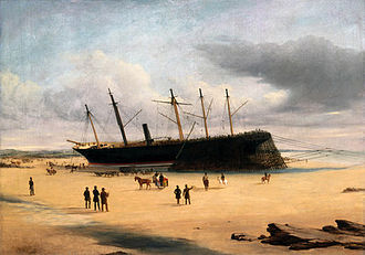 Dundrum, County Down - SS Great Britain stranded ashore in Dundrum Bay, 1846