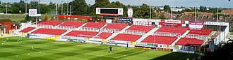 County Ground (Swindon) - The Stratton Bank on a sunny match day in August 2006